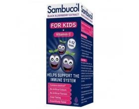 Olvos Sambucol Black Elderberry For Kids + Vitamin C Παιδικό Σιρόπι από Σαμπούκο για την Ενίσχυση του Ανοσοποιητικού, 120ml