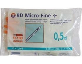 BD Micro-Fine Σύριγγα ινσουλίνης 0,5ml 29G x 12,7mm 10τμχ