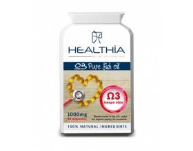 Healthia  Ω3 pure Fish Oil 1000mg Συμπλήρωμα διατροφής με Ω3 λιπαρά οξέα 90caps
