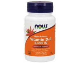 Now Foods Vitamin D3 5.000 IU Highest Potency, Υψηλής Συγκέντρωσης Βιταμίνη D3, για Υγιή Κυτταρική Ανάπτυξη, Λειτουργία του Ανοσοποιητικού Συστήματος, 120 softgels