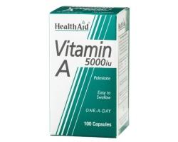 Health Aid VITAMIN A (Palmitate) 5000 i.u, ΒΙΤΑΜΙΝΗ Α 5000 i.u. με βιταμίνη D 400 i.u, Βοηθά στη δημιουργία δυνατής κυτταρικής μεμβράνης και καθιστά τον οργανισμό δυνατό 100 κάψουλες