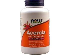 Now Foods Acerola Extract Powder (Vegetarian),  Φυσική πηγή βιταμίνης C σε σκόνη, χρησιμοποιείται για την Αντιμετώπιση του Κρυολογήματος, την Κατάθλιψη, την Αλλεργική Ρινίτιδα & την Αναιμία 170 gr
