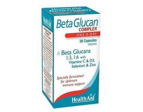 HealthAid BetaGlucan COMPLEX Συμπλήρωμα από Βήτα Γλυκάνες, για την ενίσχυση του Ανοσοποιητικού Συστήματος, τη μείωση της Χοληστερίνης & την αντιμετώπιση των Αλλεργιών  30 vcaps