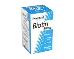 Health Aid ΒΙΟΤΙΝ Vitamin H 800mg, ΒΙΟΤΙΝΗ, Απαραίτητη για την υγεία του δέρματος, 30 ταμπλέτες βραδείας αποδέσμευσης