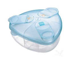 Mam Milk Powder Box - Δοχείο για σκόνη γάλακτος, για μωρά 0+ μηνών , Tριγωνικό σχήμα για εύκολο γέμισμα των μπιμπερό 3 θήκες για πολύ μεγάλες μερίδες, Καπάκι που δε στάζει χρώματος μπλέ 1 τμχ