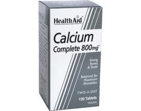 Health Aid CALCIUM complete balanced, ΑΣΒΕΣΤΙΟ 800mg, Απαραίτητο στον οργανισμό, για να διατηρήσει δυνατά οστά & υγιή δόντια 120 ταμπλέτες