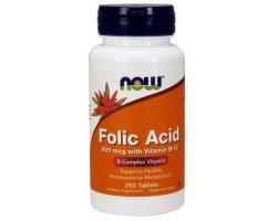 Now Foods Folic Acid 800 mcg, w/ Vitamin B-12 Vegetarian, Συμπλήρωμα Φολικού Οξέως, για την Παραγωγή Κυτταρικής Ενέργειας, την Πρόληψη της Αναιμίας, κατάλληλο για την Περίοδο της Εγκυμοσύνης  250 tabs
