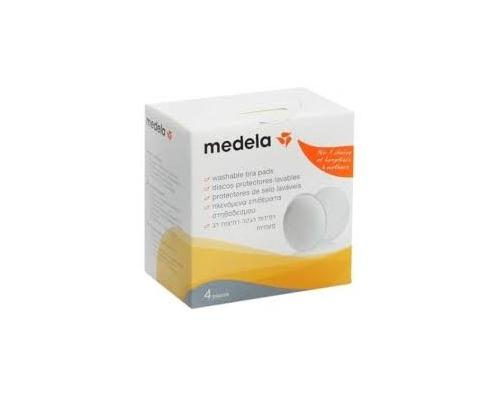 Medela Washable Bra Pads - Πλενόμενα επιθέματα στήθους, από ειδικό αντιμικροβιακό υλικό για μείωση των οσμών & βακτηριδίων, με ειδικές ραφές κατασκευασμένες με τεχνολογία υπερήχων 4 τεμ