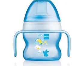 Mam Starter Cup, Πλαστικό Ποτηράκι 4m+, Ιδιαίτερα ελαφρύ κι εύκολο στο κράτημα, πολύ μαλακό στόμιο για έυκολη μετάβαση από το θηλασμό ή το μπιμπερό στο ποτηράκι χρώματος μπλέ 150 ml