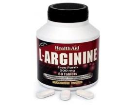 Health Aid L-Arginine 500mg,Αργινίνη, Αμινοξύ που διατηρεί το σώμα λεπτό & σφικτό, Προστατεύει & έχει θετική επίδραση στο ανοσοποιητικό, στα ανδρικά σεξουαλικά όργανα & στο ήπαρ  60 tabs