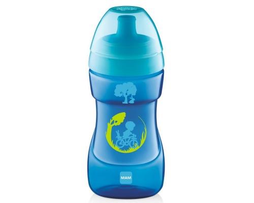 Mam ποτηράκι Sports cup, για μωρά 12+ μηνών,ποτηράκι εξόδου με κυρτό ανατομικό σχεδιασμό χρώματος μπλέ 330 ml
