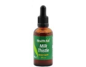 Health Aid MILK THISTLE Liquid Γαϊδουράγκαθο σε σταγόνες, Προστατεύει το ήπαρ (συκώτι) από τις βλάβες που προκαλεί η υπερβολική κατανάλωση αλκοόλ 50ml