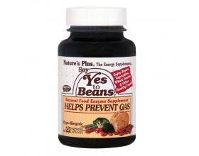 Nature's Plus Say Yes to Beans 60 vcaps, Φυσικό Βοήθημα για την Καλή Πέψη Τροφών που Προκαλούν Φούσκωμα, Περιέχει Σύμπλεγμα Ενζύμων