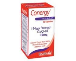 Health Aid CONERGY Q10,30mg,  Μοναδικές ευεργετικές ιδιότητες για την καρδιά και το ανοσοποιητικό σύστημα 30 κάψουλες