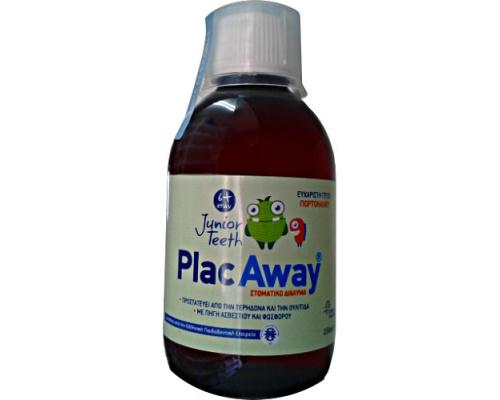 Plac Away Junior Teeth, Στοματικό Διάλυμα 6m+ με ευχάριστη γεύση πορτοκάλι, 250ml