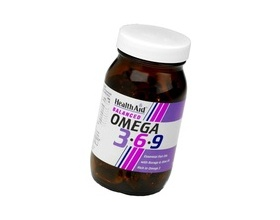 Health Aid Omega 3-6-9 90caps, Συμπλήρωμα Διατροφής για την καλή υγεία του καρδιαγγειακού συστήματος, του εγκεφάλου και την μείωση της χοληστερίνης
