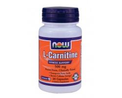 Now Foods L-Carnitine 500mg, Συμπλήρωμα Διατροφής χρήσιμο στην καρδιαγγειακή υγεία, στον έλεγχο του βάρους, στην αδυναμία απέναντι στους ιούς και στην αύξηση της αεροβικής αντοχή, 30 κάψουλες