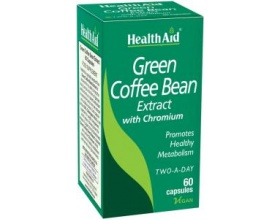 Health Aid Green Coffee Bean Extract with Chronium 60 tabs, Pure green coffee extract with beneficial effects on increasing metabolism