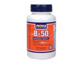 Now Foods B-50, Συμπλήρωμα Διατροφής περιέχει όλο το σύμπλεγμα των βιταμινών Β (Β-Complex), 100 κάψουλες