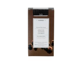 KORRES 3.0 Βαφή Μαλλιών με Έλαιο Argan & φυτική Κερατίνη, ΚΑΣΤΑΝΟ ΣΚΟΥΡΟ, 50ml