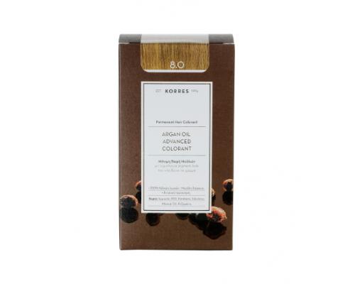 KORRES 8.0 Βαφή Μαλλιών με Έλαιο Argan & φυτική Κερατίνη, ΞΑΝΘΟ ANOIKTO, 50ml