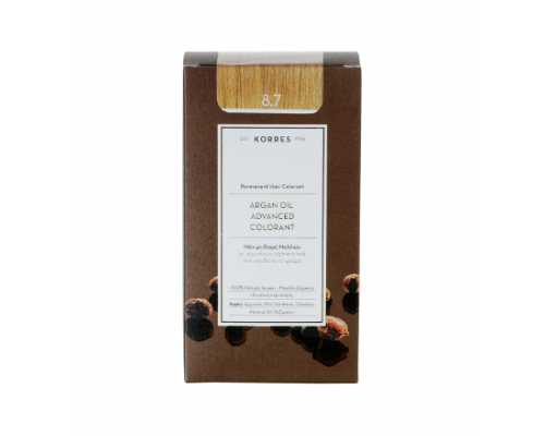 KORRES 8.7 Βαφή Μαλλιών με Έλαιο Argan & φυτική Κερατίνη, ΚΑΡΑΜΕΛΑ, 50ml