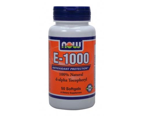 Now Foods Vitamin E-1000 IU, Συμπλήρωμα Διατροφής με ισχυρή αντιοξειδωτική δράση, 50 μαλακές κάψουλες