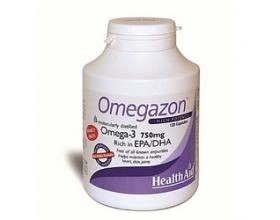 Health Aid Omegazon Ωμέγα 3 (750mg) Ιχθυέλαιο 120 κάψουλες, Συμπλήρωμα διατροφής που συμβάλλει στην καλή λειτουργία της καρδιάς, του κυκλοφορικού και στον έλεγχο της χοληστερίνης
