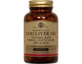 SOLGAR Cod Liver Oil 100 softgels, Φυσική πηγή βιταμινών A & D καθώς και Omega - 3 προερχόμενη από νορβηγικό μουρουνέλαιο