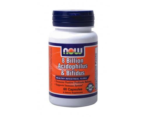 Now Foods Acidoplilus-Bifidus 8 Billion, Συμπλήρωμα Διατροφής προβιοτικά για την καλή υγεία του εντέρου, 60 κάψουλες