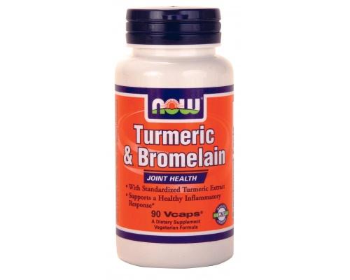 Now Foods Turmeric & Bromelain 600mg/300mg, Συμπλήρωμα Διατροφής  βοηθά στην υποστήριξη μιας υγιούς φλεγμονώδους αντίδρασης, 90 κάψουλες