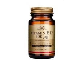 SOLGAR Vitamin Β12 (κοβαλαμίνη) 500μg 50caps, Συμπλήρωμα Διατροφής που βοηθά στη σωστή λειτουργία των κυττάρων του οργανισμού, της γαστρεντερικής οδού και του νευρικού συστήματος