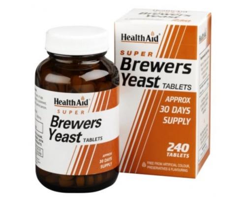 Health Aid Brewers Yeast 240 tabl., Συμπλήρωμα Διατροφής με μαγιά μπύρας που βοηθάει στην αναζοωγόνηση του δέρματος, στα μαλλιά και στα νύχια
