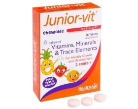 Health Aid Junior-Vit  Vitamins & Minerals 30Tabs, Συμπλήρωμα Διατροφής με  πολυβιταμίνες για παιδιά