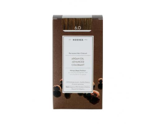 KORRES 6.0 Βαφή Μαλλιών με Έλαιο Argan & φυτική Κερατίνη , ΞΑΝΘΟ ΣΚΟΥΡΟ ΦΥΣΙΚΟ 50ml