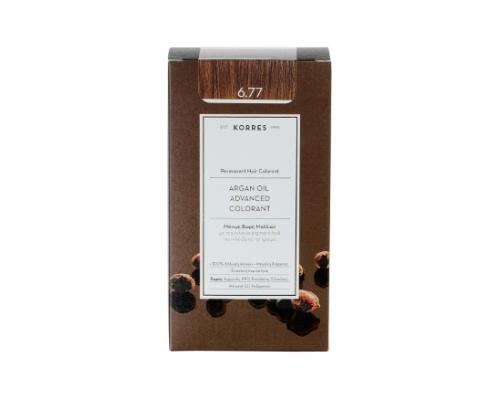 KORRES 6.77 Βαφή Μαλλιών με Έλαιο Argan & φυτική Κερατίνη, ΠΡΑΛΙΝΑ , 50ml