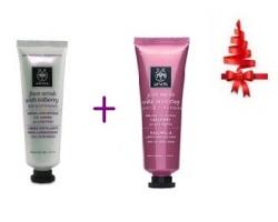 Apivita Face Scrub Bilberry 50ml + Apivita Face Mask Pink Clay 50ml, Απολέπιση και καθαρισμός προσώπου για άμεση λάμψη