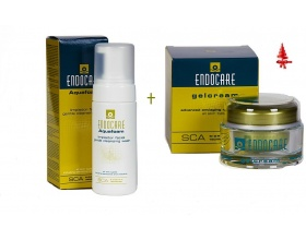 Endocare Aquafoam 125ml + Endocare Gelcream 30ml, Αφρός καθαρισμού και ντεμακιγιάζ προσώπου και κρέμα τζέλ προσώπου ελαφριάς υφής με επανορθωτική, αντιγηραντική και αντιοξειδωτική δράση