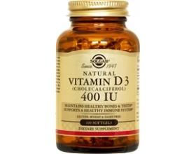 SOLGAR Vitamin D-3 400iu 100 softgels, Απαραίτητη για την απορρόφηση & αξιοποίηση του ασβεστίου & του φωσφόρου από τα οστά