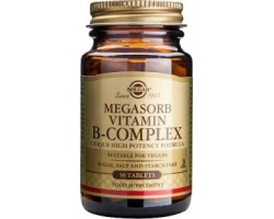 "SOLGAR Megasorb B - Complex ""50"", Ισορροπημένο σύμπλεγμα βιταμινών Β σχεδιασμένο για βέλτιστη απορρόφηση και αξιοποίηση από τον οργανισμό 50 κάψουλες"
