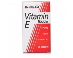 Health Aid VITAMIN E1000 i.u (670mg), ΦΥΣΙΚΗ Βιταμίνη Ε, Βοηθά στην επιβράδυνση της γήρανσης και ελαττώνει τις κράμπες και τη μυϊκή δυσκαμψία των αθλητών, 30 κάψουλες