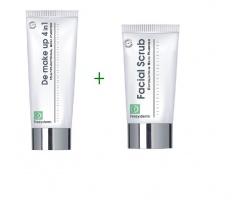 FREZYDERM,  DE-MAKE Up 4 in 1, Γαλάκτωμα καθαρισμού και αφαίρεσης μακιγιάζ 4 σε 1 για κάθε ηλικία 200ml + Frezyderm Facial Scrub, Gel Kαθαρισμού & απολέπισης για κάθε τύπο δέρματος και κάθε ηλικία 100ml