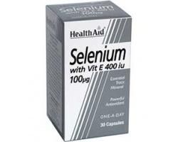 Health Aid Selenium με βιταμίνη Ε 400iu συμπλήρωμα διατροφής για την προστασία των κυττάρων του οργανισμού 30 κάψουλες