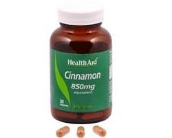 Health Aid Cinnamon 850mg, Συμπλήρωμα Διατροφής που βοηθά το σάκχαρο να διατηρείται σε φυσιολογικά επίπεδα και βοηθά στα προβλήματα του μεταβολισμού όπως παχυσαρκία, πίεση, χοληστερίνη, 30 κάψουλες