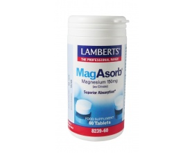 LAMBERTS Mag Asorb Magnesium 150mg, Συμπλήρωμα διατροφής μαγνησίου 60 ταμπλέτες