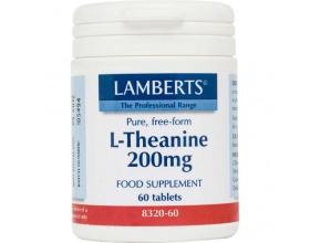 LAMBERTS L-THEANINE 200 mg, Αυξάνει τα επίπεδα των GABA (νευροδιαβιβαστών) και των κυμάτων Α στον εγκέφαλο, με αποτέλεσμα την πρόκληση ηρεμιστικής δράσης χωρίς συνοδό την υπνηλία  60 tabs