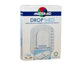 Master-aid Drop med, Αυτοκόλλητη γάζα από μαλακό υλικό με αντισηπτικό 7x5cm 5 τεμάχια