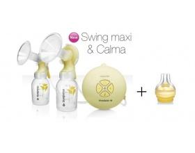 Medela  Swing Maxi & Calma Διπλό Ηλεκτρoνικό Θήλαστρο Ρεύματος/Μπαταρίας με δώρο Ειδική Θηλή Σίτισης Calma