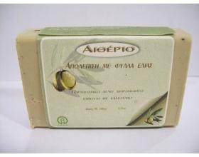 Novomed ΑΙΘΕΡΙΟ, Χειροποίητο σαπούνι από αγνό ελαιόλαδο και φύλλα ελιάς για απολέπιση 100g
