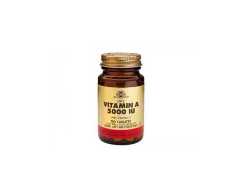Solgar Vitamin A Dry 5000IU 100tab., Συμπλήρωμα διατροφής που βοηθάει στην ενδυνάμωση της όρασης, τη διατήρηση υγιούς δέρματος, μαλλιών και βλεννογόνων